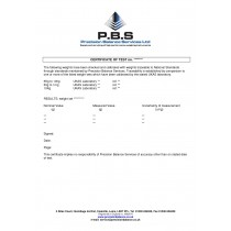 Certificate of Calibration (Weights)